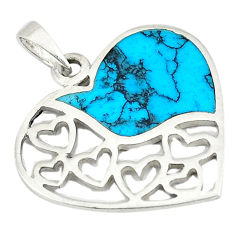 Fine blue turquoise enamel 925 sterling silver heart charm pendant a74736 c14888