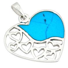 Fine blue turquoise enamel 925 sterling silver heart pendant a49591 c14895