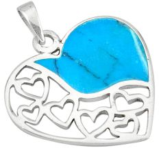 Fine blue turquoise enamel 925 sterling silver heart pendant a49592 c14881