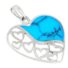 Fine blue turquoise enamel 925 sterling silver heart pendant a66683 c14892
