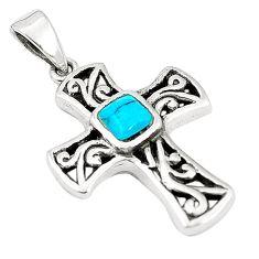 Fine blue turquoise enamel 925 sterling silver holy cross pendant a79720 c13803