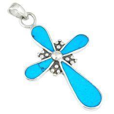 4.02gms fine blue turquoise enamel 925 sterling silver holy cross pendant c12554