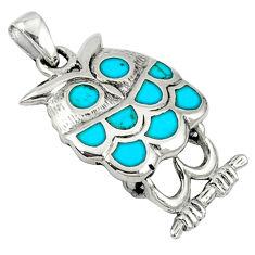 Fine blue turquoise enamel 925 sterling silver owl pendant jewelry c12569