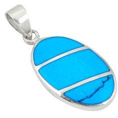 Fine blue turquoise enamel 925 sterling silver pendant jewelry a49631 c14863