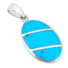 Fine blue turquoise enamel 925 sterling silver pendant jewelry a74721 c14878