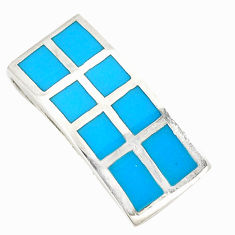 Fine blue turquoise enamel 925 sterling silver pendant jewelry a75811 c14401