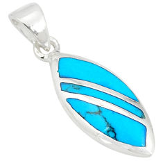 Fine blue turquoise enamel 925 sterling silver pendant jewelry a77591 c14777
