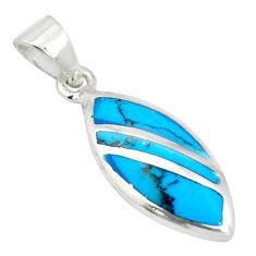 Fine blue turquoise enamel 925 sterling silver pendant jewelry a85409 c14776