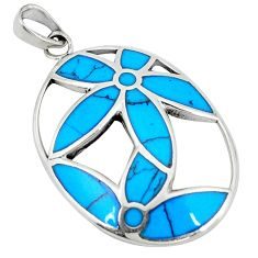 Fine blue turquoise enamel 925 sterling silver pendant jewelry c12555
