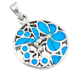 Fine blue turquoise enamel 925 sterling silver pendant jewelry c12556