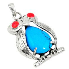Fine blue turquoise red coral 925 sterling silver owl pendant jewelry c20826