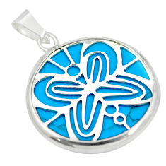 Fine blue turquoise round 925 sterling silver pendant jewelry c23203