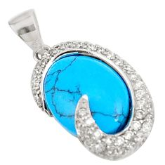 6.84cts fine blue turquoise topaz 925 sterling silver pendant jewelry c23520