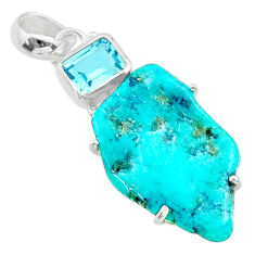 14.15cts fine blue turquoise topaz 925 sterling silver pendant jewelry t41187