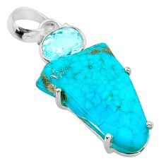 14.80cts fine blue turquoise topaz 925 sterling silver pendant jewelry t41203