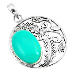 6.82cts fine green turquoise 925 sterling silver flower pendant a88366 c13697