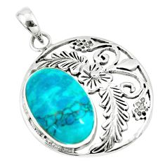 7.30cts fine green turquoise 925 sterling silver flower pendant a88413 c13685
