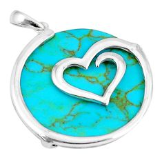 15.32cts fine green turquoise 925 sterling silver heart pendant a88677 c14592