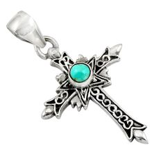 0.70cts fine green turquoise 925 sterling silver holy cross pendant d45700