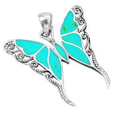 4.47gms fine green turquoise enamel 925 silver butterfly pendant a88589 c14901