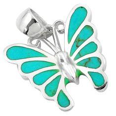 4.02gms fine green turquoise enamel 925 silver butterfly pendant a91888 c14851