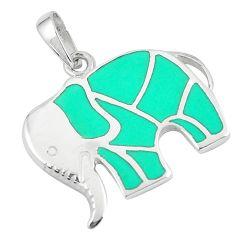 3.89gms fine green turquoise enamel 925 silver elephant pendant a88587 c14861