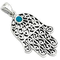 Fine green turquoise enamel 925 silver hand of god hamsa pendant c10921
