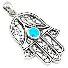 Fine green turquoise enamel 925 silver hand of god hamsa pendant c10927