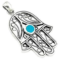 Fine green turquoise enamel 925 silver hand of god hamsa pendant c10933