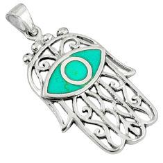Fine green turquoise enamel 925 silver hand of god hamsa pendant c12511