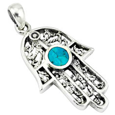 Fine green turquoise enamel 925 silver hand of god hamsa pendant c10978