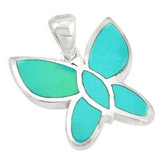 Fine green turquoise enamel 925 sterling silver butterfly pendant a85451 c14828