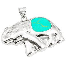 Fine green turquoise enamel 925 sterling silver elephant pendant a79751 c13695