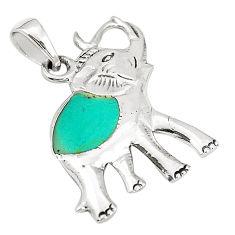 Fine green turquoise enamel 925 sterling silver elephant pendant a79759 c13764
