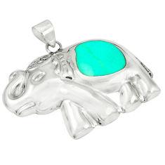 Fine green turquoise enamel 925 sterling silver elephant pendant a79776 c13692