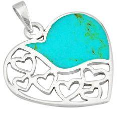 Fine green turquoise enamel 925 sterling silver heart pendant a49618 c14894