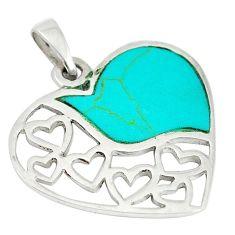 Fine green turquoise enamel 925 sterling silver heart pendant c12486