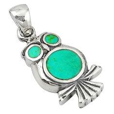 Fine green turquoise enamel 925 sterling silver owl pendant a58866 c15321