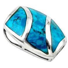 Fine green turquoise enamel 925 sterling silver pendant jewelry c10866