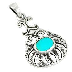 Fine green turquoise enamel 925 sterling silver pendant jewelry c12492