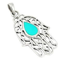 Fine green turquoise enamel 925 sterling silver pendant jewelry c12520
