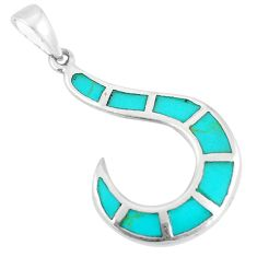 2.26gms fine green turquoise enamel 925 sterling silver pendant jewelry c22739