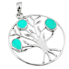 3.87gms fine green turquoise enamel silver tree of life pendant a90811 c13714