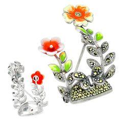 Fine marcasite enamel 925 sterling silver brooch pendant jewelry c21372
