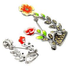 Fine marcasite enamel 925 sterling silver flower brooch pendant jewelry c21374