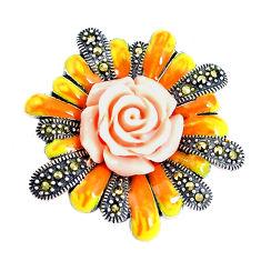 10.02gms fine marcasite enamel 925 sterling silver flower pendant jewelry c21380