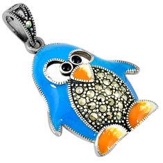 Fine marcasite enamel 925 sterling silver penguin pendant jewelry c22680