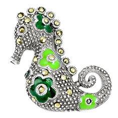 8.48gms fine marcasite enamel 925 sterling silver seahorse pendant c16607