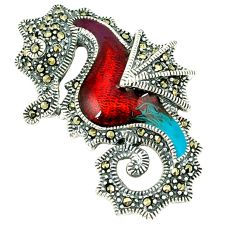 Fine marcasite enamel 925 sterling silver seahorse pendant jewelry c21045