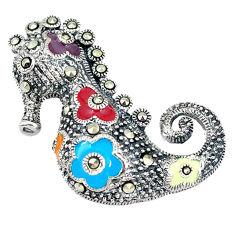 Fine marcasite enamel 925 sterling silver seahorse pendant jewelry c21053